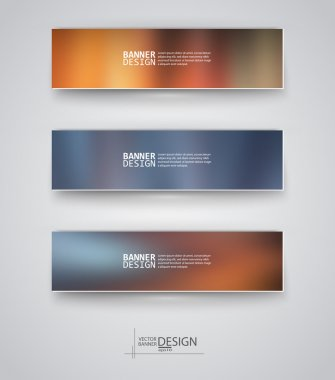 Set of Banners with Multicolored Blurred Backgrounds.