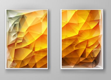 Brochure with Multicolored Polygonal Mosaic Backgrounds
