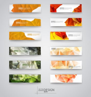 Set of Banners with Multicolored Polygonal Mosaic Backgrounds
