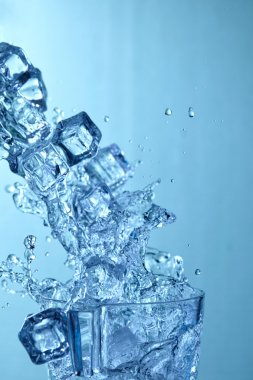 ice cubes in blue water