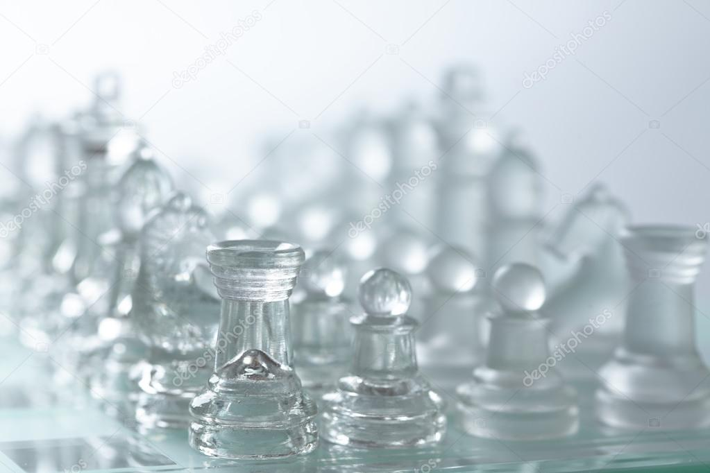 white glass chess