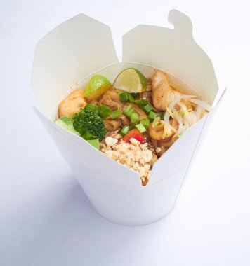 Noodles in paper box