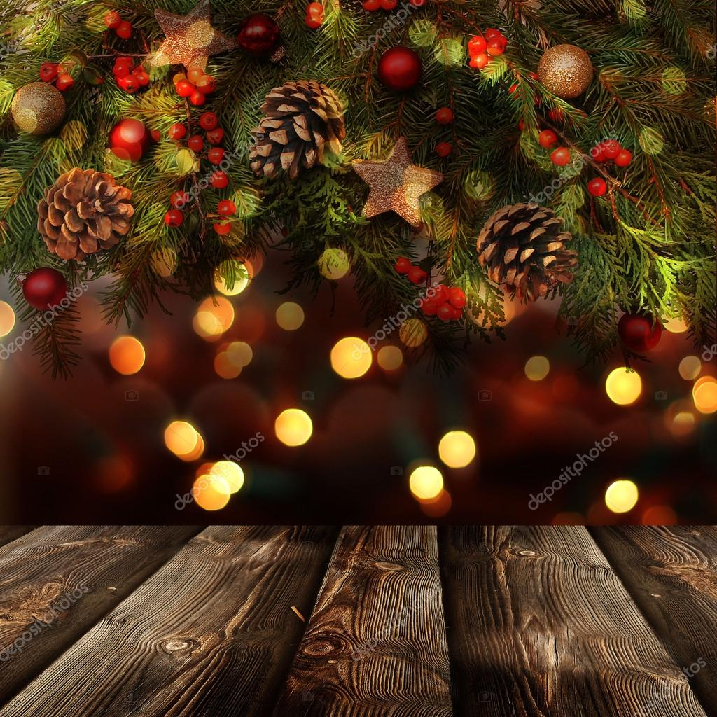 Christmas Background With Empty Rustic Table Photo By Alga38