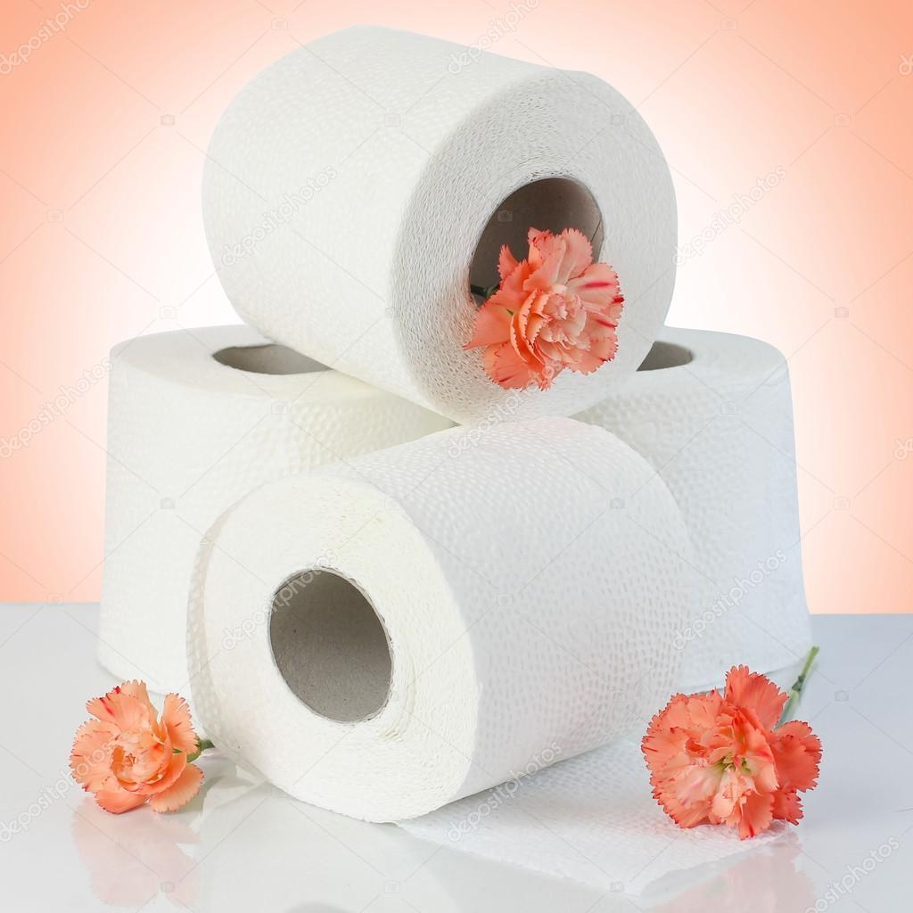 Toilet Paper Rolls With Natural Flowers Stock Photo Alga38 68917553