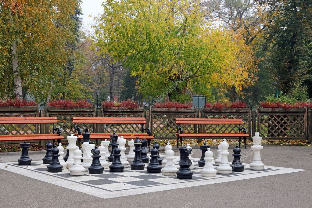 chess figures in park autumn