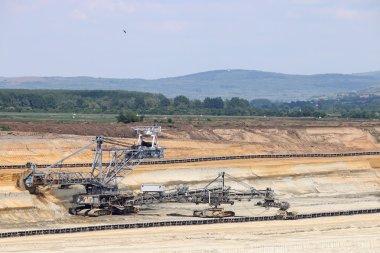 excavator working on open pit coal mine