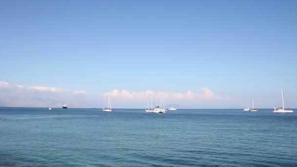 sailboats and yacht Garitsa bay Corfu Greece