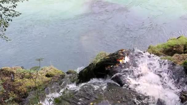 mountain water stream falling in river
