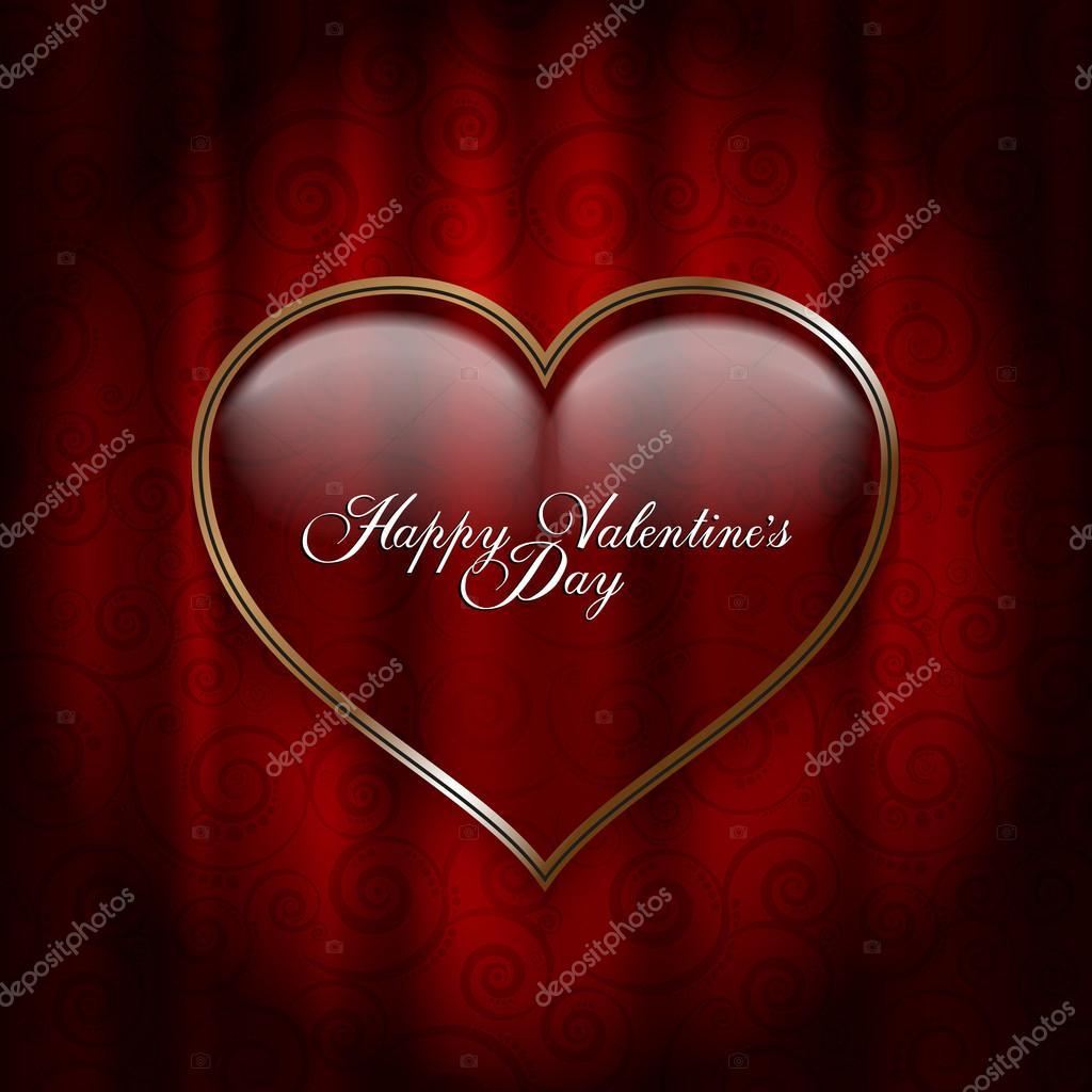 Valentinstag-Karte - Herz auf gemusterten Hintergrund — Stockvektor ...