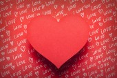 Red heart on red background