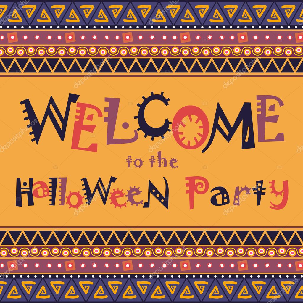 Welcome to the Halloween Party — Stock Vector © OlleVita #55385607