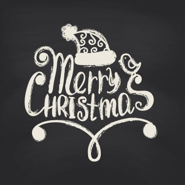 Merry Christmas on blackboard background.