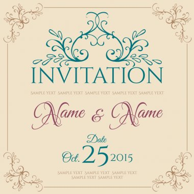 Vintage invitation vector card with lace ornament stock vector