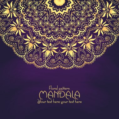 Golden mandala pattern design template