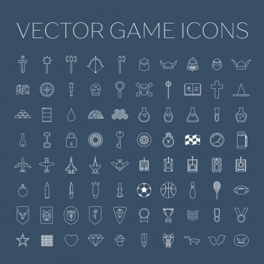 Vector line art game icons set