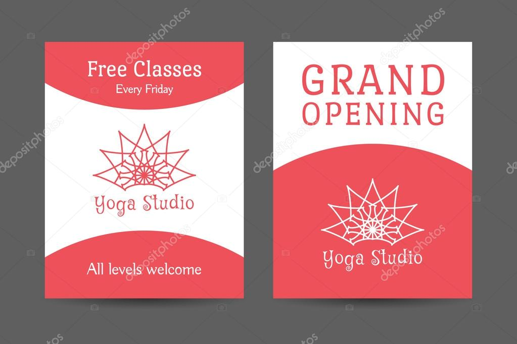 plantilla de folleto de yoga studio vector — Vector de stock ...