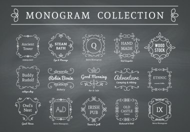 Vector vintage monogram set