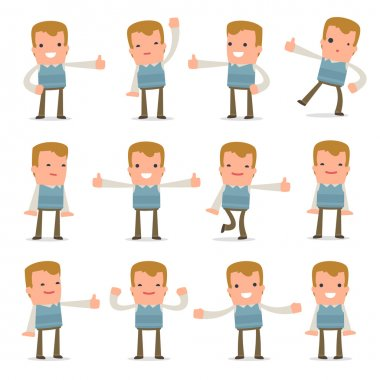 Set of Funny and Cheerful Character Family man showing thumb up