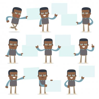 Set of Funny and Cheerful Character Teacher holds and interacts