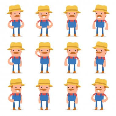 Set of Happy and Cheerful Character Farmer standing in relaxed p