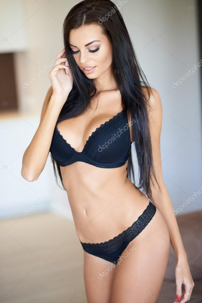Close Up Pretty Long Hair Woman Wearing Sexy Black Underwear With One Hand  On The Hair And Eyes Looking Down. U2014 Photo By Dashek