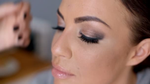 Beautician apply makeup to a model