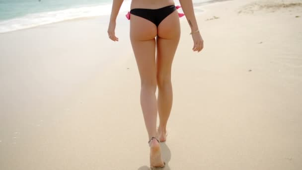 1b8c2d3e68e Woman Wearing Thong Bikini Walking on Beach — Stock Video © dashek ...
