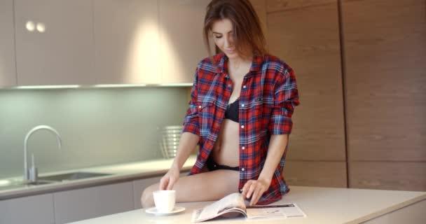 Beautiful Girl Spending Morning in Her Kitchen