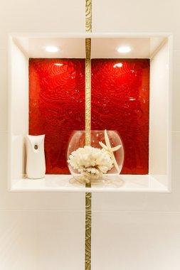 Detail of Modern bathroom in red