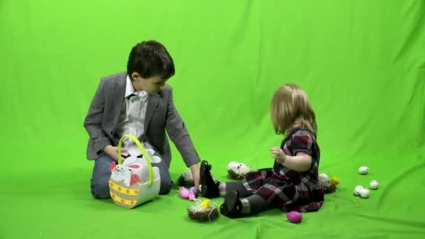 Velikonoce, děti, zelená obrazovka, 4k, Prores, 4.2.2
