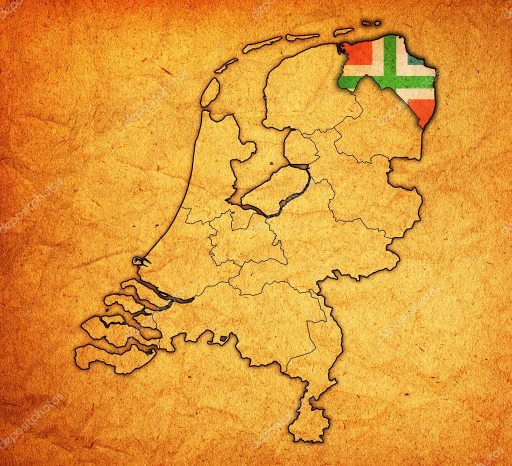 groningen on map of provinces of netherlands — Stock Photo ...
