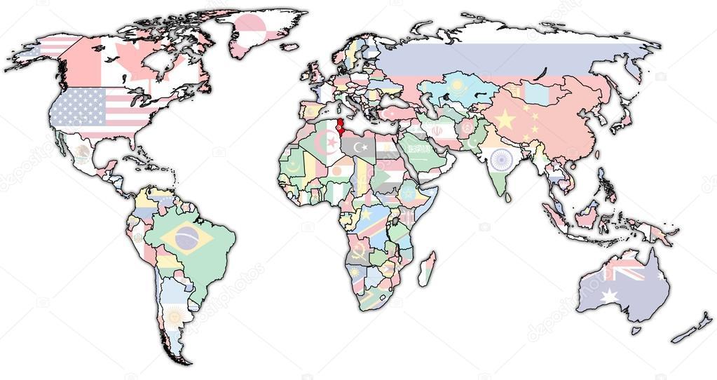 Tunesien Karte Welt.Tunesien Gebiet Auf Der Weltkarte Stockfoto Michal812 88370878