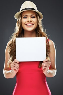 Woman holding white advertising board.