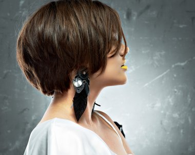 Female model  with bob hair style