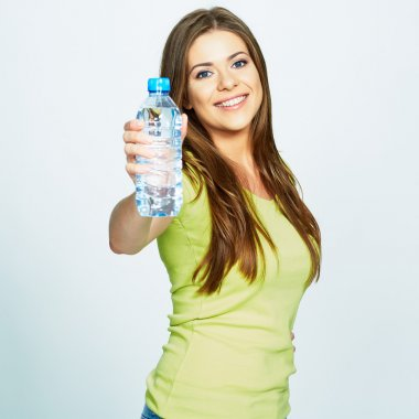 Woman shows bottle of water