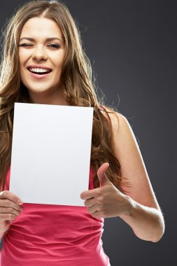 Woman holding white board