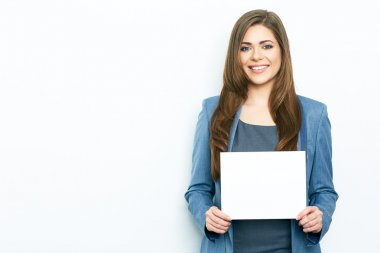 Businesswoman holds blank paper