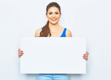 woman holding signboard