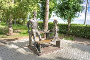 Saratov. Embankment of Cosmonauts. A sculpture is Classmates