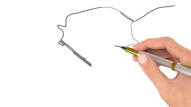 A toll rajzolja a kép körvonalát. Doodle videó vagy Whiteboard Animation. Többszínű horgolt kampók különböző méretben a csomagolásban