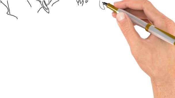 A toll rajzolja a kép körvonalát. Doodle videó vagy Whiteboard Animation. Virágbimbók és virágok bokrai Kamilla dekoráció. Közelkép