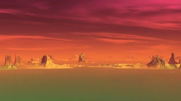 3D-s renderelt fantasy idegen bolygón. Sziklák és az ég