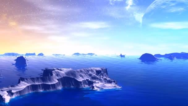 Fantasy idegen bolygón. Sziklák és a Hold