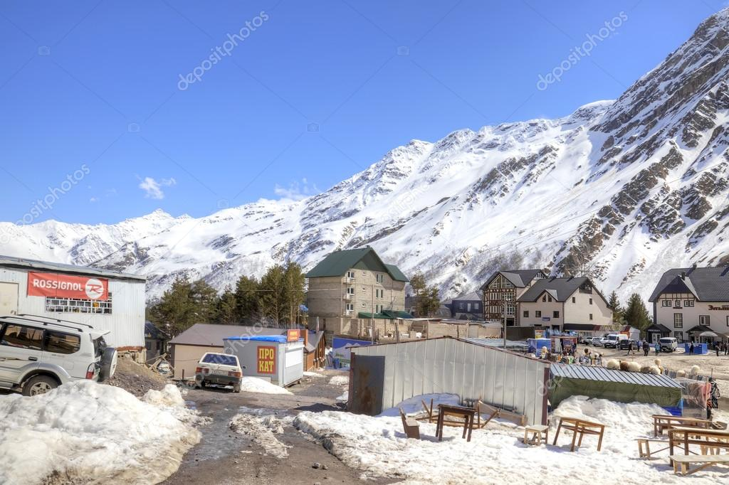 The village of skiers on glade Azau