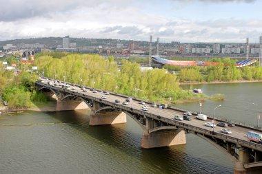 City Krasnoyarsk. View on the river Yenisei and Kommunalnyy brid