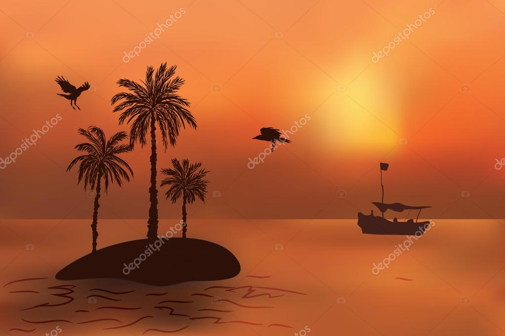 Tropical island with palm trees at sunset. The fishermen's boat