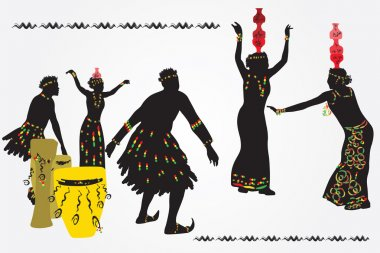 African folk dance. Young men and women dancing and playing the