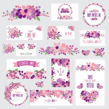 Elegant cards with floral bouquets, hearts and wreath, design elements. Can be used for wedding, baby shower, mothers day, valentines day, birthday cards, invitations. Vintage decorative flowers. clip art vector