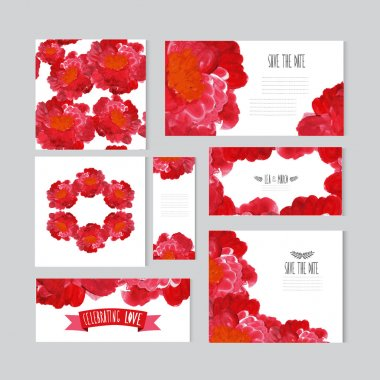 Oil painted floral cards set