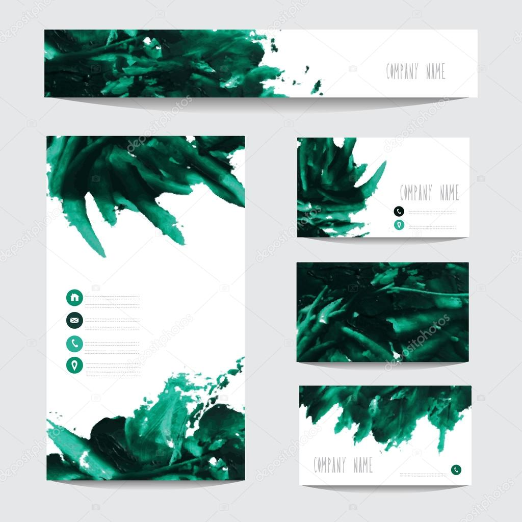 Leo pintado cartes de visita vetores de stock chantall 64527885 oil painted business card templates in green colors design elements can be used also for greeting cards banners invitations reheart Gallery